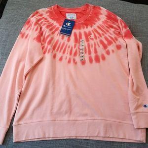 Champion Coral & Orange Tie Dye Sweatshirt (XL)